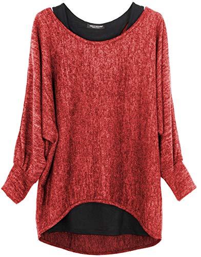 Emma & Giovanni - Damen Oversize Oberteile Tshirt/Pullover (2 Stück) / Made In Italy, XL-XXL, Rot