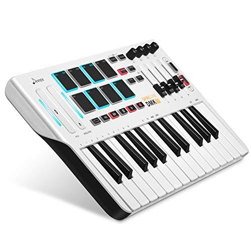 Donner USB Type-C 25 Tasten MIDI Keyboard Mini DMK25, Professioneller MIDI Controller mit AIR-Touch Bar (Pitch,Modulation), 8 hintergrundbeleuchtete Drum Pads, 4 Regler und 4 Control Slider, Weiß