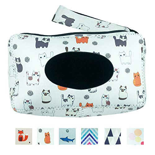 BRO-T Reusable Neoprene Portable Wet Wipe Pouch & Refillable Baby Wipes Dispenser, Eco Friendly and Lightweight Handy Travel Diaper Wipes Carrying Case Holder | Keeps Wet Wipes Moist (Funny cat)
