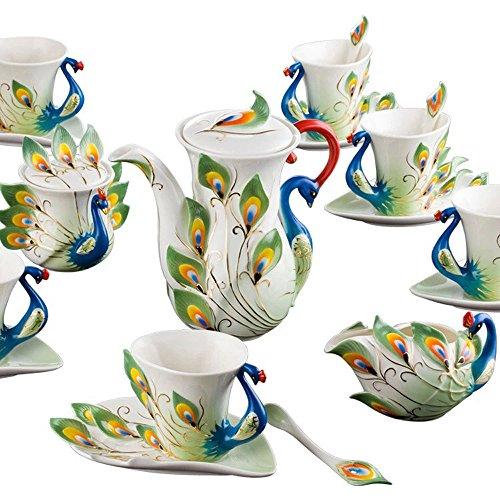 Yosou Home Personalisiertes einzigartiges individuelles Design Porzellan Teetasse und Untertasse mit Löffel Set Kaffeetasse Tasse Tasse 3D Pfau romantisches kreatives Geschenk Setgreen