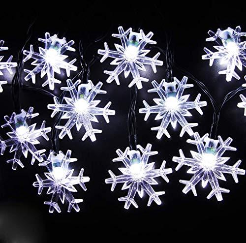 Luces Cadena Copo Nieve, 6M 40LED Luces Cadena Hadas estrelladas a Prueba Agua Luces Copo Nieve Pilas la decoración Fiestas en Interiores y Exteriores, Moderno