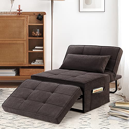 Saemoza Sofa Bed, 4 in 1 Multi Function Folding Ottoman Sleeper Bed with Storage Bag, Modern Convertible Chair Adjustable Backrest Sleeper Couch Bed for Living Room,Towel Fabric