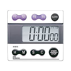 Sper Scientific 810015 Digital Count Down/Count Up Timer with Clock, White grey