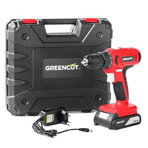 GREENCUT TD210L - Taladro atornillador perforador inalámbrico de batería de litio 21V,...