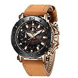 LIGE Relojes para Hombres Moda Militar Impermeable Deporte Reloj analógico Cuarzo Negocio Marrón Cronógrafo Cuero Reloj Esfera Grande