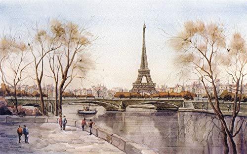Cuadro De Diamante Personalizado 5D Diy Ciudad Torre Eiffel París Río Francia Imagen Mosaico De Diamantes Bordado Regalo De Taladro Redondo 30X40cm