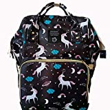 qiqiu Mochila Maternidad Bolso momia mochila multifunción de gran capacidad impermeable bolso materno-infantil mochila para mujer-Unicornio negro Mochila Bebe