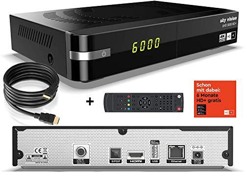 sky vision UHD 3000 HD+ Digitaler UHD Satellitenreceiver (4K UHD, HDTV, DVB-S2, HDMI, USB 2.0, PVR-Ready, 2160p, Unicable) inkl. 6 Monate HD+ gratis & conecto® HDMI-Kabel