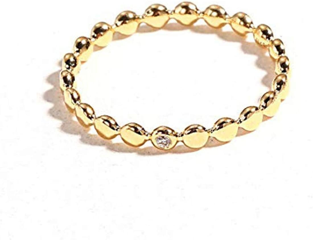 Carleen 18k Solid High material Time sale Gold Diamond Stackable Beaded Fashion Ring Ban