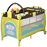 Giantex Nursery Center Playyard Baby Crib Set Portable Nest Bassinet Bed Infant Kids Travel Playpen Pack Deluxe Double-Layer Beds Pocket Diapter Changer Cribs Nursery Centers w/Bag & Caster