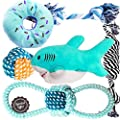 Dog Puppy Toys Puppy Chew Toys for Playtime Teeth Cleaning Squeak Toys Puppy Teething Toys for Small Dogs Chihuahua 6pcs (Shark)