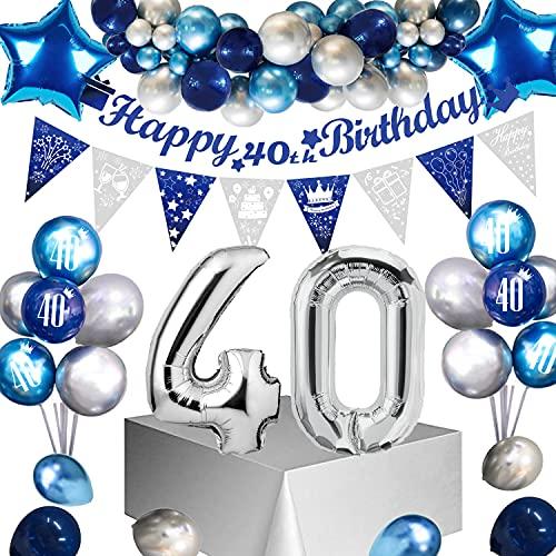 Sumtoco Deko 40 Geburtstag Mann, Blau Silber Geburtstagsdeko 40, Luftballon 40. Geburtstag Golden, Happy Birthday 40 Jahre Girlande, Folienballon 40 Konfetti Ballon für Männer 40. Dekoration… (40)