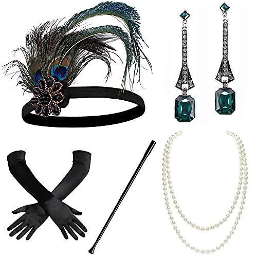 Coucoland Ensemble d'accessoires années 1920 Gatsby le Gatsby le années 20 avec bandeau