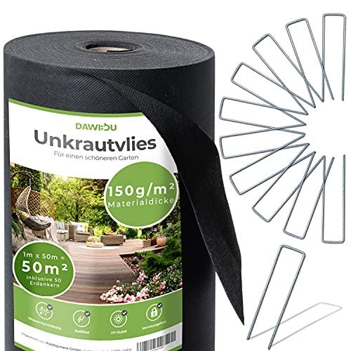 DAWIDU Gartenvlies Unkrautvlies 150g/m2 [50m²] inkl. 50 Erdanker Set verzinkt Natürlich gegen Unkraut - Premium Anti Unkrautfolie & Gartenvlies wasserdurchlässig, UV stabil & reißfest