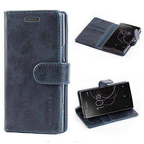 Mulbess Handyhülle für Sony Xperia XZ1 Compact Hülle, Leder Flip Case Schutzhülle für Sony XZ1 Compact Tasche, Dunkel Blau