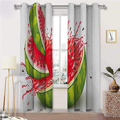 "igoga sports Kitchen Curtains Modern Full Light Blocking Drapery Panels Summer Fruit Ripe Watermelon Cuts with Splashes of Juice Drops Print 2 Grommet Curtain Panels, 38"" W x 45"" L"