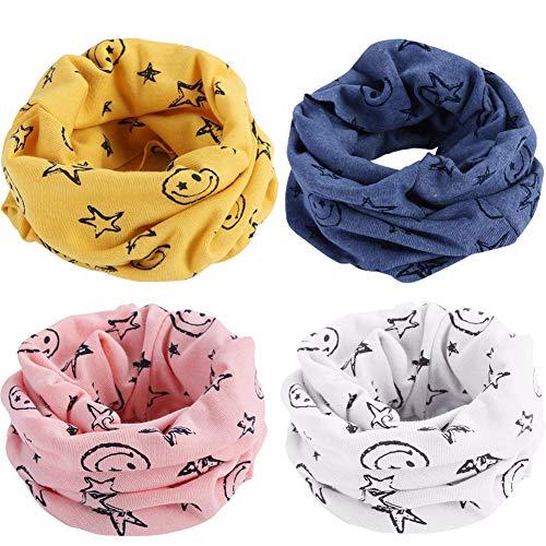 BESTZY Multiuso Sciarpa per Bambini 4PCS Sciarpa Scaldacollo in cotone per Bambini Fazzoletto ad Anello Cappello del Cotone Sciarpa O-Scaldacollo Loop