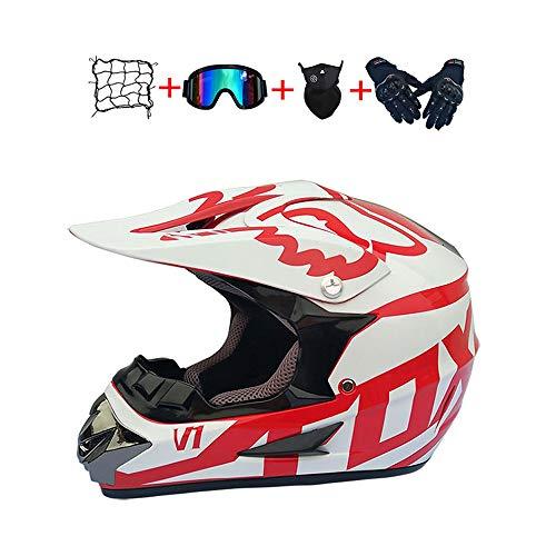 BHGJ Casco Motocross Niño,Diseñado con FOX Cascos De Motocross Cascos de Cross de Moto Set con Gafas Máscara Guantes(FOX,rojo) (L)
