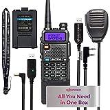 Extended Ham Radio Handheld Starter Kit Mirkit Baofeng Radio UV-5R MK4 MP Max Power with 3800 mAh, Handheld Mic, Baofeng Programming Cable and Software - Extra Pack