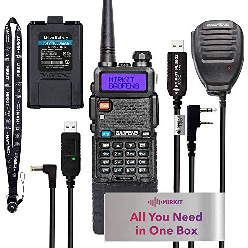 Extended Ham Radio Handheld Starter Kit Mirkit Baofeng Radio UV-5R MK4 MP Max Power with 3800 mAh, Handheld Mic, Baofeng Programming Cable and Software - Extra Pack. Buy it now for 108.44