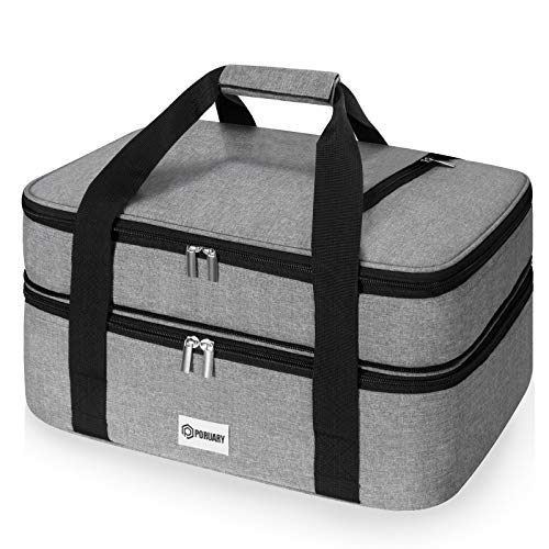 """Poruary Double Casserole Carrier for Hot or Cold Food,Expandable Insulated Bag,Perfect Lasagna Holder Tote for Potlucks, Picnics,Beaches,Traveling or Gifts,Fits 9""""x13"""" Baking Dish,Gray"""