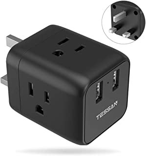 UK Ireland Scotland Travel Adapter Plug, TESSAN UK Power Adapter with 2 USB Ports 3 American Outlets, Adaptor for USA to England British London Hong Kong, Type G