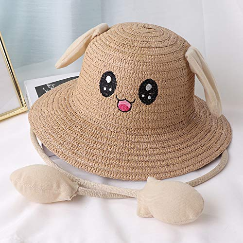 Spring and Summer A Pinch of Ears, Straw Hats, Cartoon Sun Hats for Boys and Girls, Airbag Caps