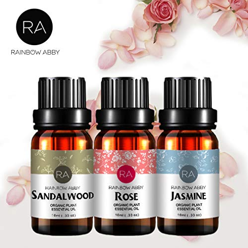 Rose Sandalwood Jasmine Essential Oil Set for Diffuser/Skin Care, 100% Aromatherapy Pure Plant Oils...