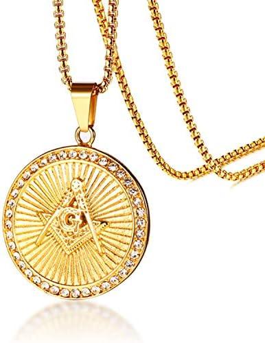 Jakob Miller Stainless Steel Hip Hop CZ Freemason Symbol Pendant Mens Emblem Masonic Necklace product image