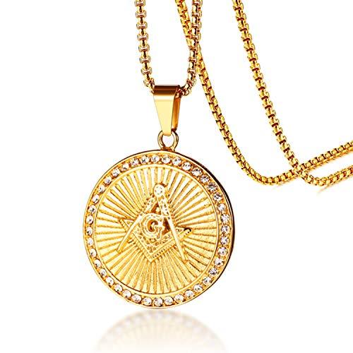 Jakob Miller Stainless Steel Hip-Hop CZ Freemason Symbol Pendant Mens Emblem Masonic Necklace