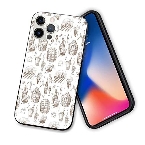 Vino compatible con el nuevo iPhone 12 Series 2020, diseño vintage de dibujos de viñedo, botellas de uva de viñedo, diseño flexible y delgado de TPU para iPhone 12 Pro Max 6.7 pulgadas