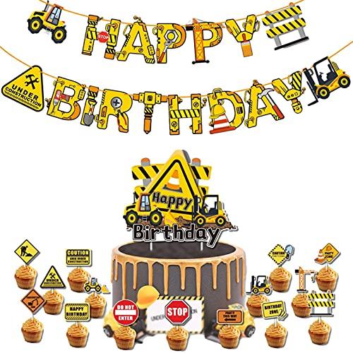 Eternitry Gebäudethema-Partydekoration, Banner & Flaggen Graben, Bulldozer zum Einfügen von Kuchen, Ballonbogen-Set aus Aluminiumfolie