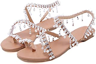 Women's Strappy Flat Sandals Bohemia Jeweled Toe Ring Gladiator Sandals Roman Shoes