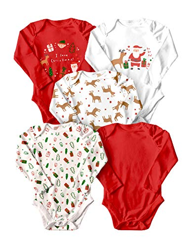 WINK & BLINk Christmas Organic Baby Bodysuits, 5-Pack Long-Sleeve Onesies, 100% Organic Cotton (Christmas,6-9M)
