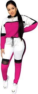 Women 2 Piece Outfits Stripe Sweatshirt and Pants Sweatsuits Set Tracksuits