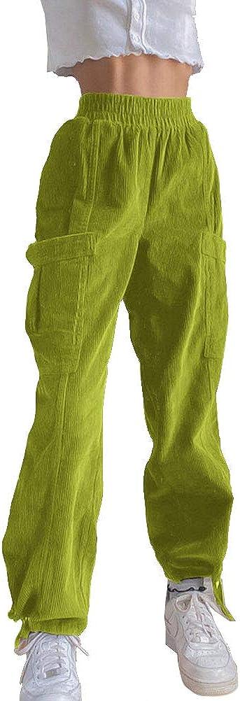 PAODIKUAI Women's Vintage Patch Corduroy Pants High Waisted Straight Leg Casual Pants