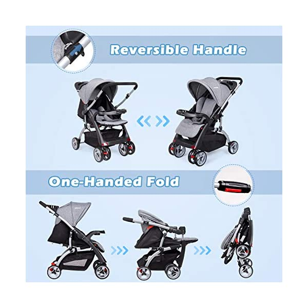 Baby Stroller Travel Pushchair, One-Hand Folding Pushchair for Newborn Infant Toddler with Reclining Seat and Reversible Handle, Easy to Transport and Storage, Great for Airplane (Grey) N-O 【Safe and Comfortable】: All- steel frame and anti- shock wheels with brakes. - 3-Point harness with soft shoulder pads for comfort and assurance that the child remains in position and does not lean out. Washable and breathable fabric can have optimum air flow for baby. Large sunshade can give your baby a sweet sleep. 【Reversible handle and storage basket】: When you take your baby out alone, keep your baby in your eyes more directly, ensuring maximum safety. Storage baskets in all locations allow you to store all your baby's necessities. 【Peek-a-boo window】: This ingenious design for parents. You can have make eye contact with baby at ant time, and watch baby's activity. 2