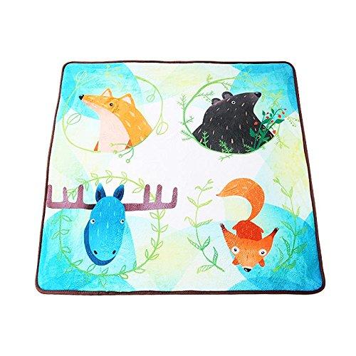 GRENSS SchöNES Cartoon Tiere Teppiche Kinderzimmer Teppiche Kaffee Tischsets Bett Teppiche Anti-Skid Matten für Schlafzimmer waschbare Teppiche, 1000 mm x 1000 mm