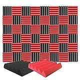 Arrowzoom 48 Polyurethane Wedge Panneaux Mousse Acoustiques 25x25x5cm Correction Phonique anti bruit Retardateur flamme studio d'enregistrement absorbant acoustique Podcasting Streaming Rouge Noir