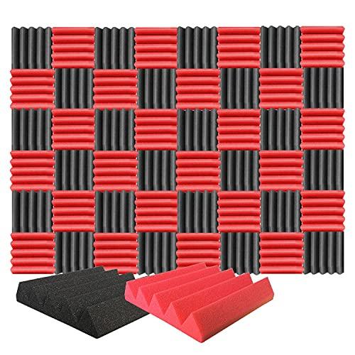 Arrowzoom 48 Geluidsabsorberende Panelen Wedge Wedge Akoestische Correctie Vlamvertragende Geluidsisolatie 25x25x5cm Rood & Zwart