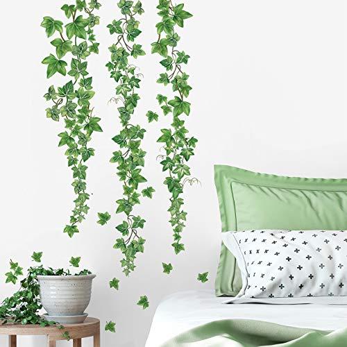decalmile Wandtattoo Hängende Rebe Wandaufkleber Grün Efeu Blätter Wandsticker Schlafzimmer Wohnzimmer Sofa Hintergrund Wanddeko