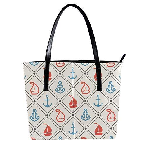 Handtaschen für Frauen, Damen-Handtasche, Einkaufstasche, Mikrofaser-Leder, großes Fassungsvermögen, Damen-Handtasche mit Tragegriff und Cartoon-Motiv, Segelschiff-Anker 39,9 x 29 x 8,9 cm