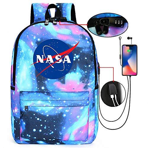 Zaino della NASA Zaini per la Scuola Media Zaino Impermeabile Zaino di Svago Zaino per Scuola con Porta di Ricarica USB e Blocco può ospitare Laptop da 14 Pollici per Studenti Leggero,Style4
