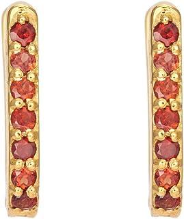 Gehna Yellow Gold, Garnet and Hoop Earrings for Women