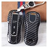 Cas clé Damen Para auto ABDOMINALES Cadena de fundas de la caja de la llave de la fibra de carbono para Porsche Macan 911 Panamera para Cayenne 2018 Accesorios Coque clé en cuir ( Color Name : Black )