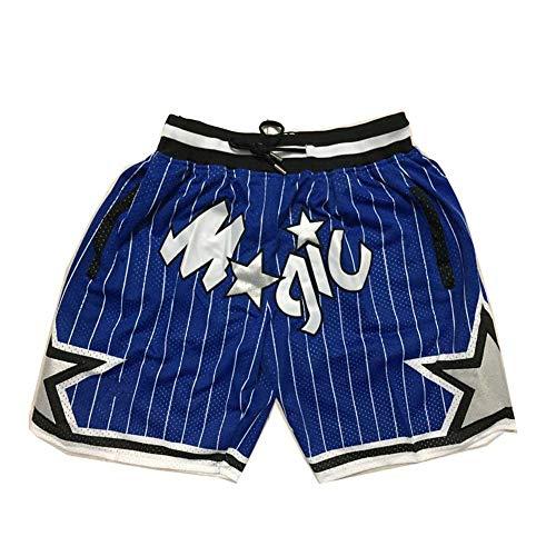 HOUXIAONI Orlando Magic Basketballhose, atmungsaktive Retro-Shorts, Workout-Laufsport-Sportbekleidung, Trainingsanzug-Trainingsanzug-Sweatshirt-Blue-M