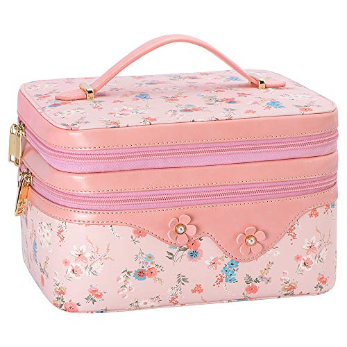 WWW Toiletry Travel Bag Makeup Bag Travel Cosmetic Bag for Women, Travel Jewelry Organizer,Portable Multifunctional Makeup Case Jewelry Travel Case with Adjustable Dividers Pink