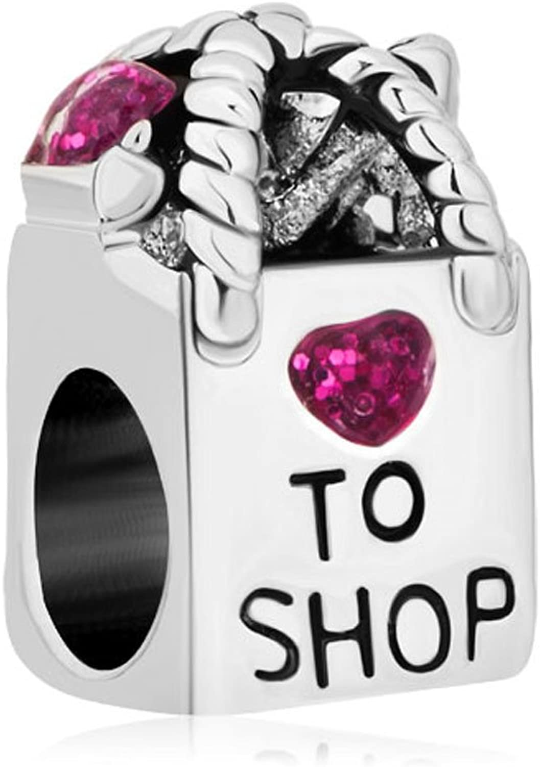 CharmsStory Sterling Silver Shopping Bag Purple Synthetic Crystal Heart Charms Beads For Bracelets