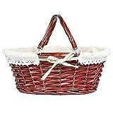 MEIEM Wicker Basket Gift Baskets Empty Oval Willow Woven Picnic Basket Easter Candy Basket Storage Wine Basket with Handle Egg Gathering Wedding Basket (Brown)