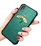KERZZIL iPhone Xs Max Case, Shockproof Glitter Sparkle Bling 3D Diamond Matel Bee for Girls Women, Faux Leather Soft Bumper Protective Phone Case Cover Compatible for Apple iPhone Xs Max; [Green]